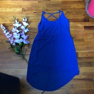Blue maxi dress with adjustable strings